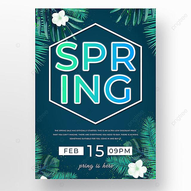 dark blue spring promotion leaf template