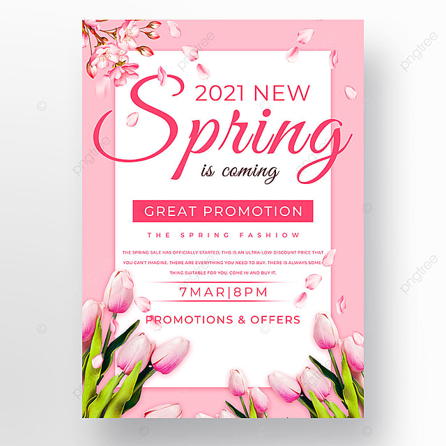 pink flowers spring promotion template