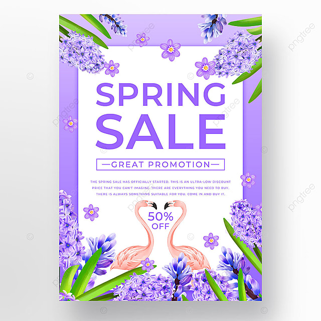 purple spring promotion animal template