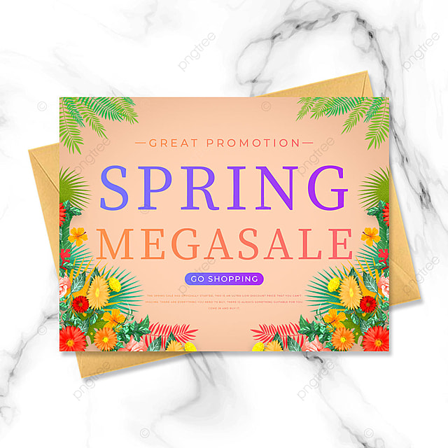 warm color flowers spring promotion template