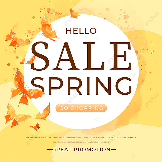 yellow butterfly spring promotion template