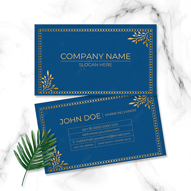 blue business card retro style