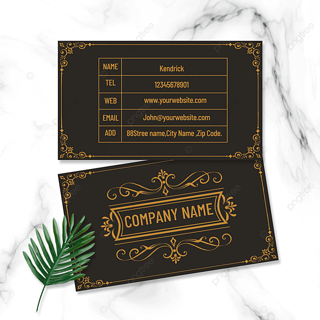 classic vintage yellow pattern double sided business business card