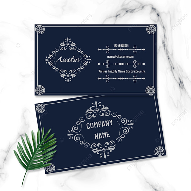 gray vintage pattern double sided business card
