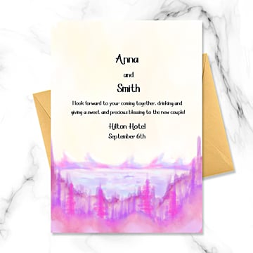 Акварель Розовое озеро Дальнее Абстрактное приглашение Шаблон