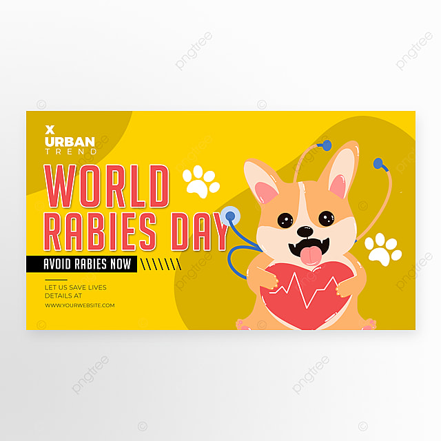 personality cartoon world rabies day holiday banner