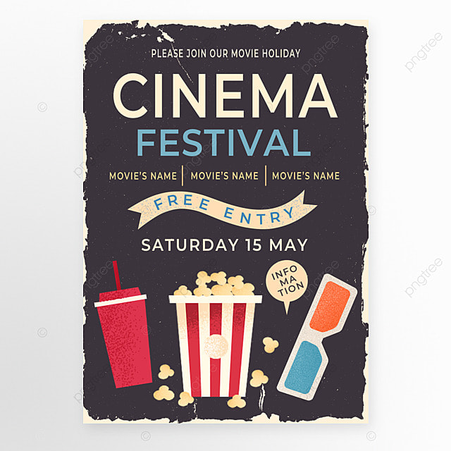 black red retro style popcorn movie event poster