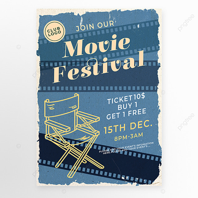 blue film director chair movie event poster
