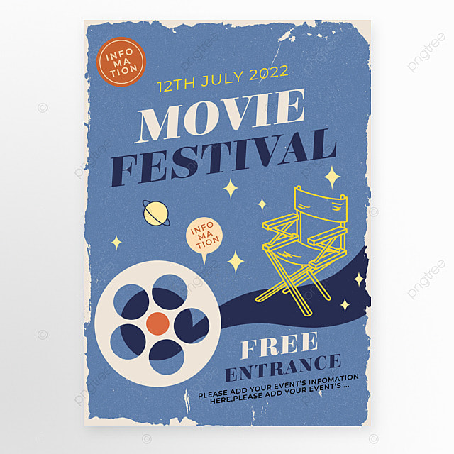 blue retro style film chair movie event poster