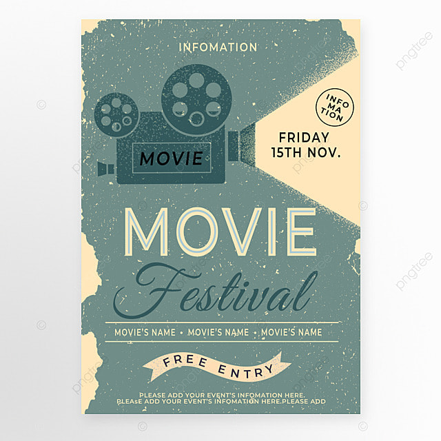 blue retro style projector light movie event poster