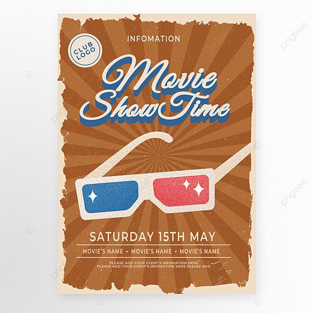brown retro style glasses movie event poster