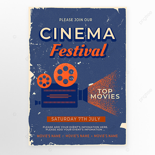 dark blue orange projector retro movie event poster