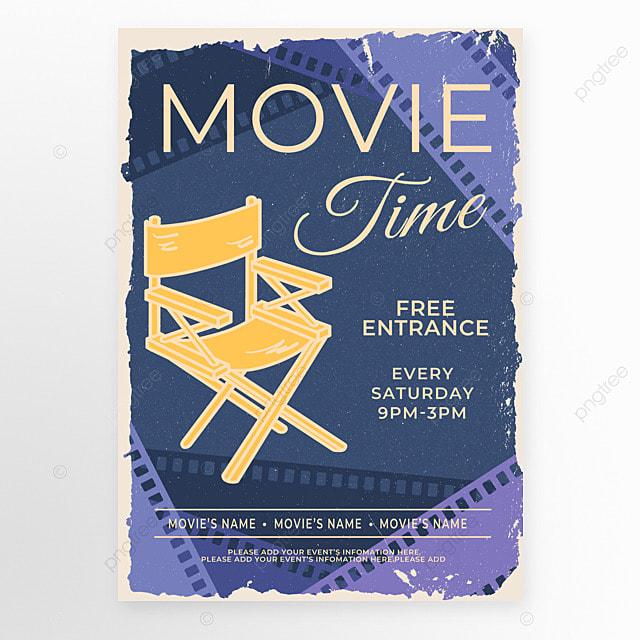 director chair film purple retro style movie event poster