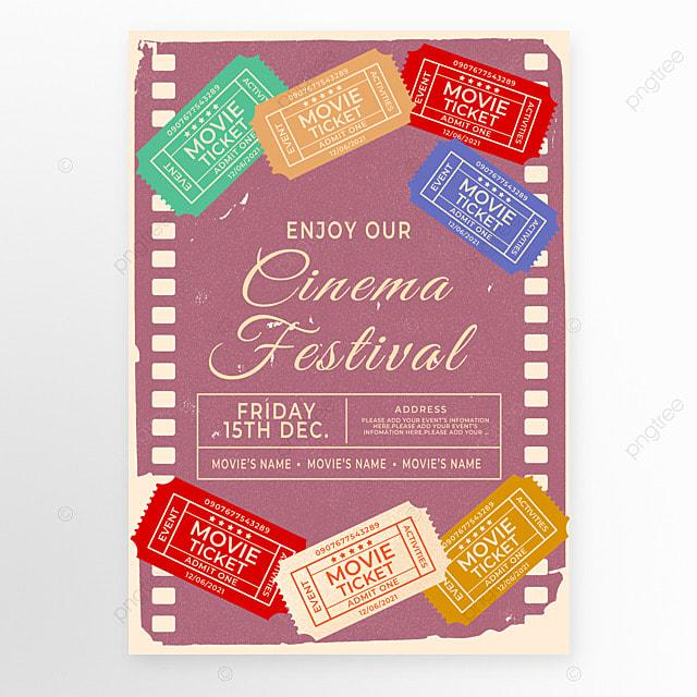 distressed color movie ticket retro movie event poster