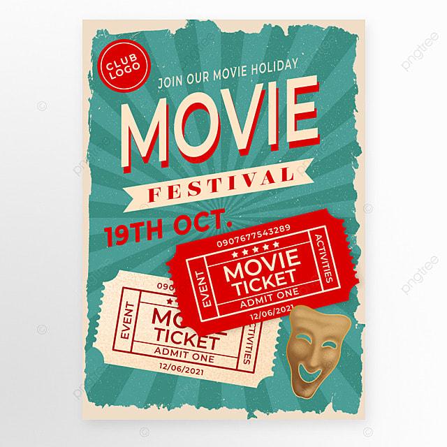 movie ticket green retro style movie event poster