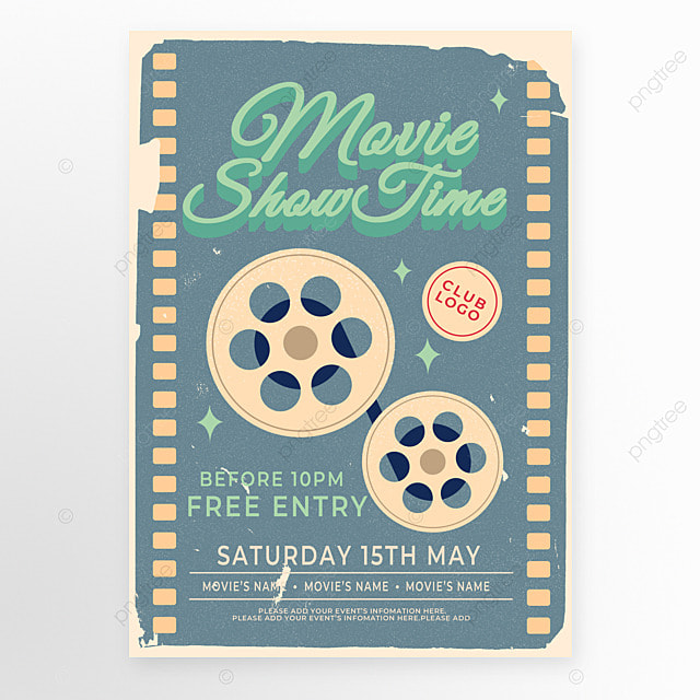 old retro style green film movie event poster
