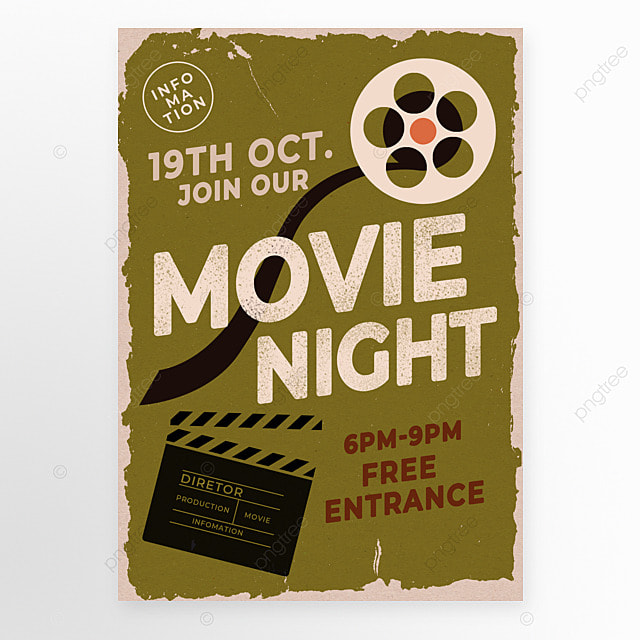 olive green retro style movie event poster