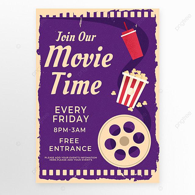 purple film popcorn retro style movie event poster