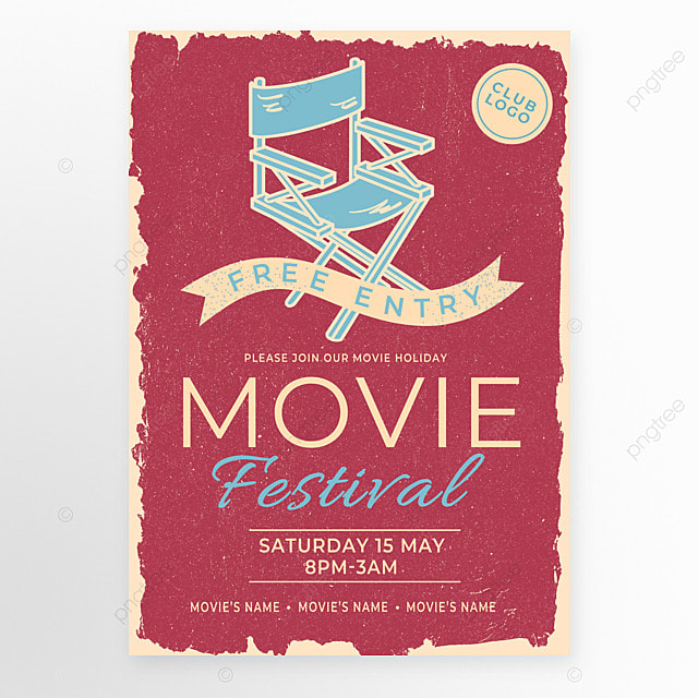 red blue director chair retro style movie event poster