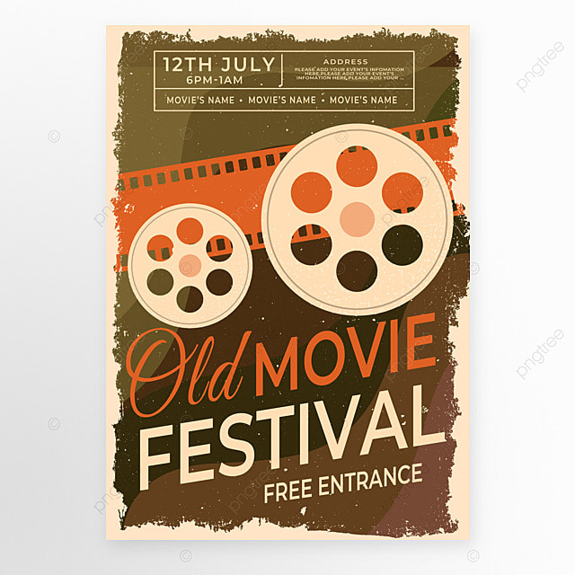 red brown retro style movie event poster