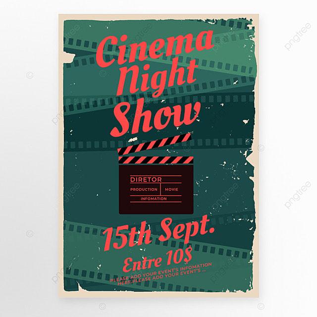 red green field clapper board film retro movie event poster