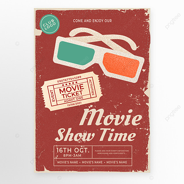 red green retro movie ticket glasses movie event poster