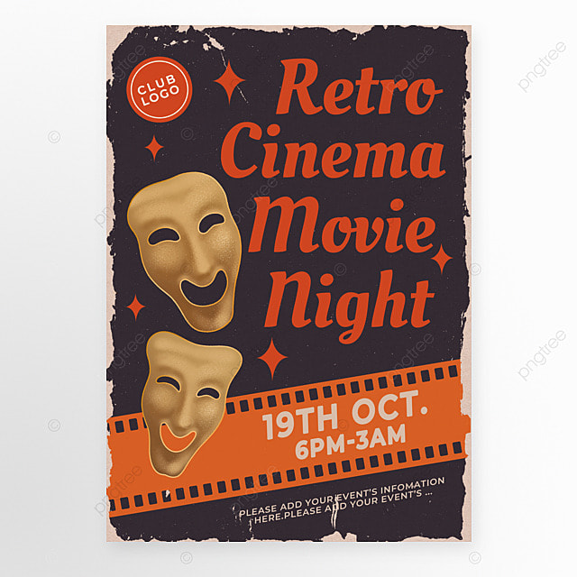 retro style black red theater mask movie event poster