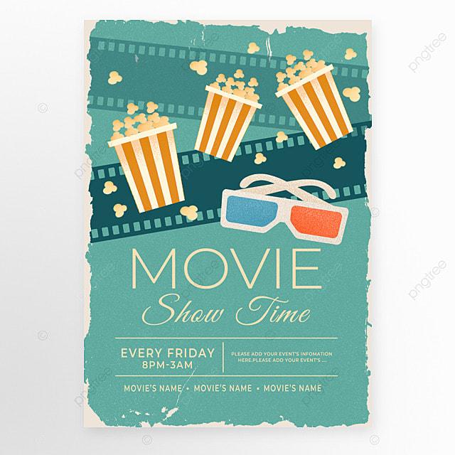 retro style green film popcorn movie event poster