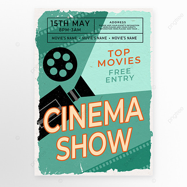 retro style projector film movie event poster