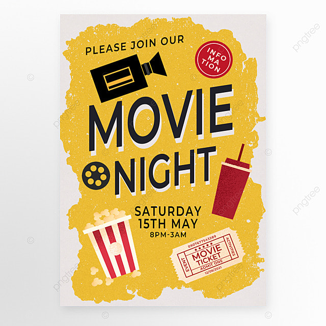 yellow old retro movie event poster