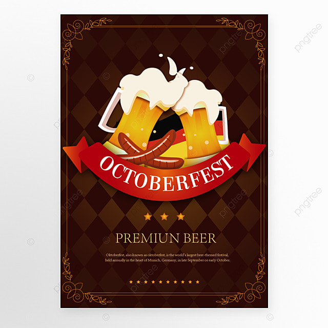brown poster template in cartoon style for oktoberfest festival