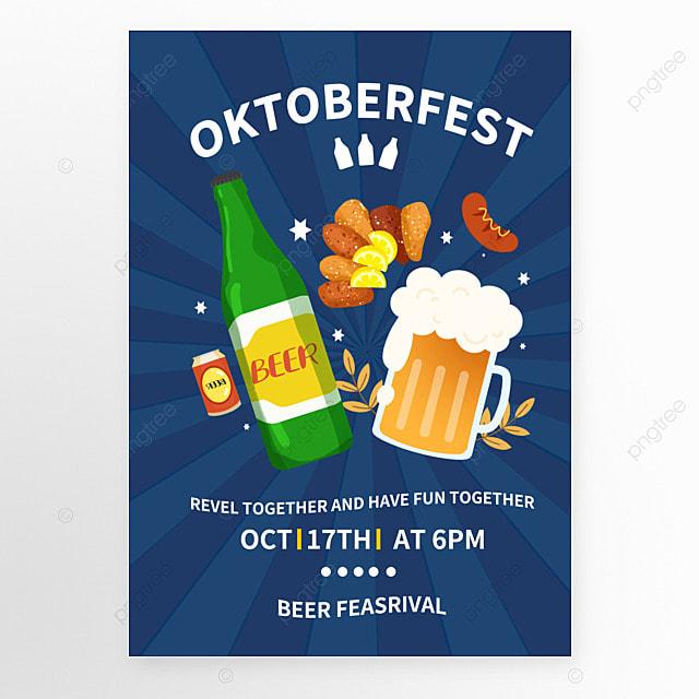 germany oktoberfest blue creative poster