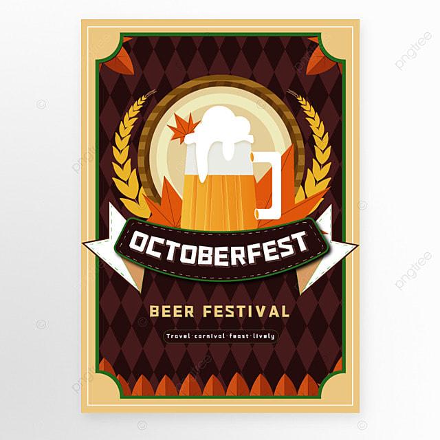 oktoberfest munich cartoon style brown poster template