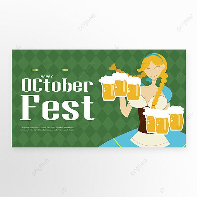 oktoberfest munich cartoon style green banner