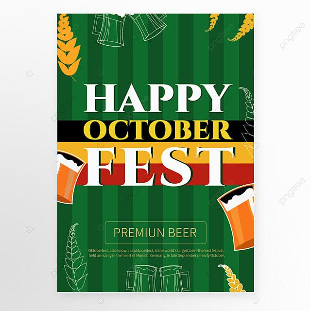 oktoberfest munich cartoon style green poster template
