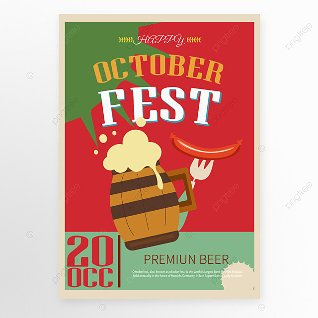 red poster template in cartoon style for oktoberfest festival