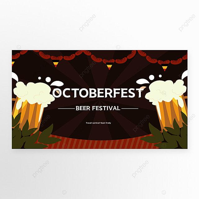 oktoberfest munich cartoon style brown banner