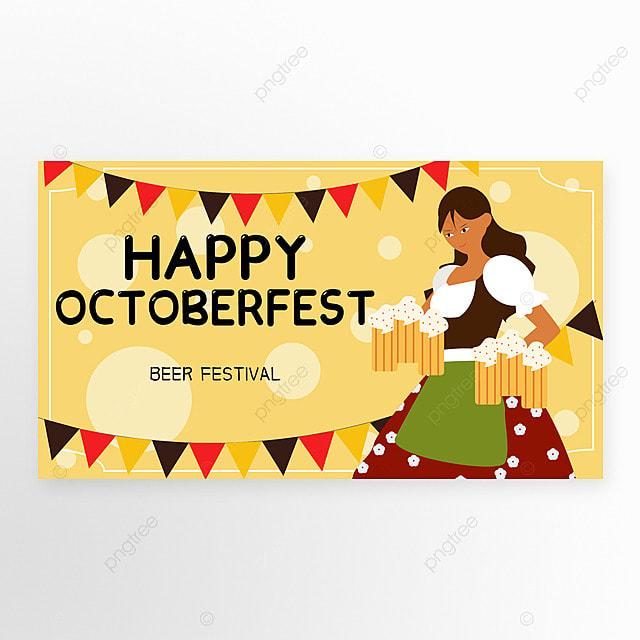 oktoberfest yellow banner in munich cartoon style