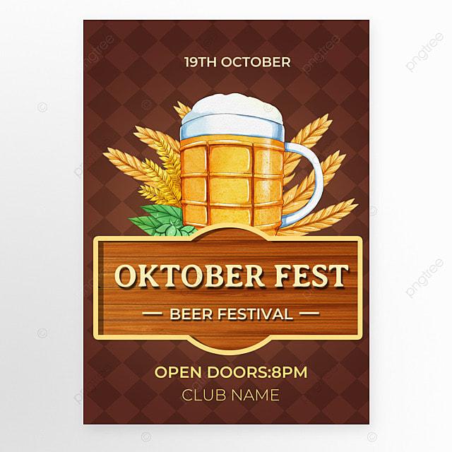 oktoberfest festival brown plaid poster
