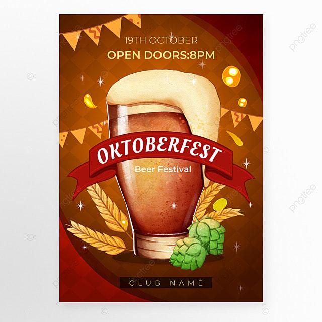 oktoberfest festival coffee color poster