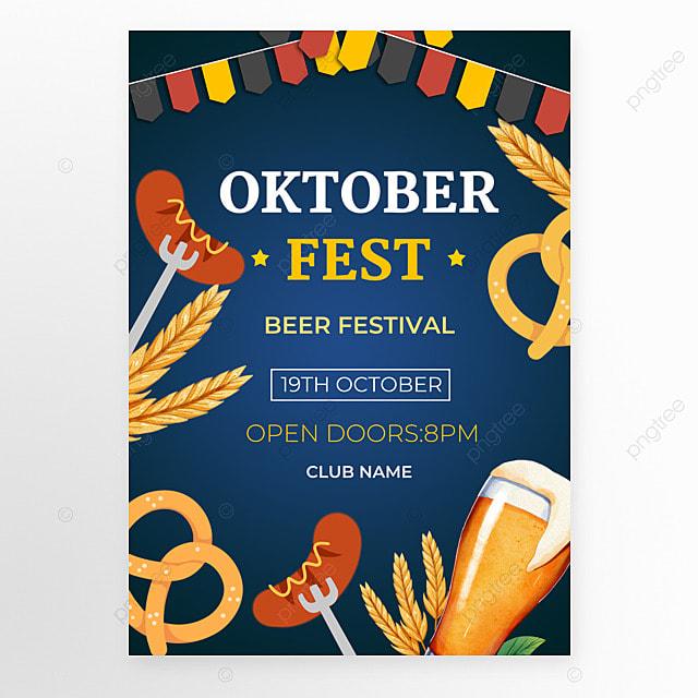oktoberfest festival dark blue poster