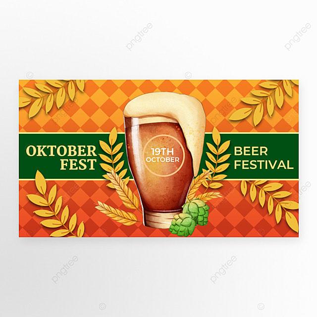 oktoberfest festival orange red poster