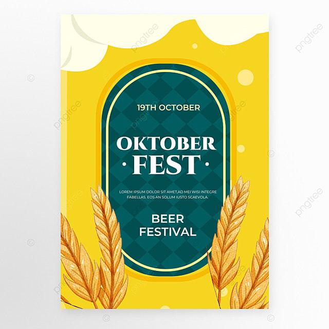 oktoberfest festival orange yellow poster