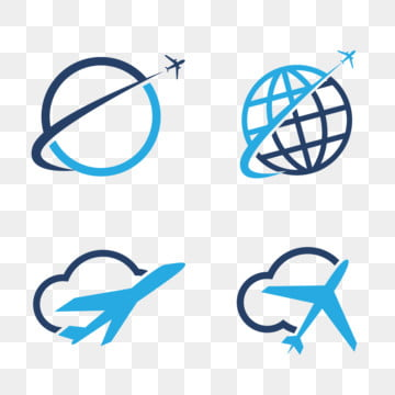 travel logos set design airplane in globe and cloud tourism vector icons Template