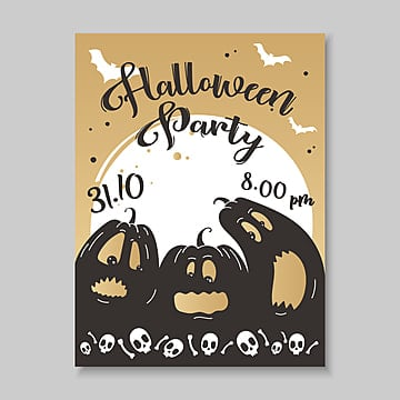 halloween poster in hand drawn style with ominous pumpkins on the Template