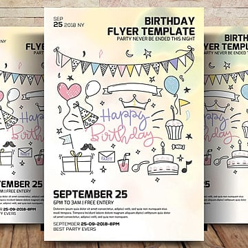 Birthday Party Flyer Template Anniversary Bachelor Balloons PNG And PSD