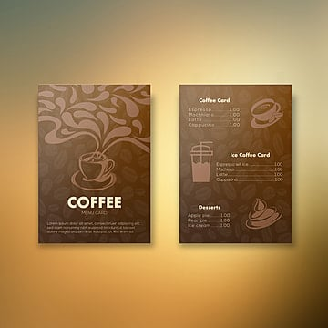 Two Sided Coffee Menu Card Design Template illustration image