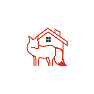 animal fox real estate home logo design template ,Vector