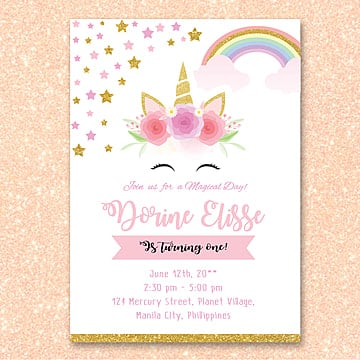 Birthday invitation png vectors psd and clipart for free download unicorn birthday invitation unicorn pink gold png and psd filmwisefo