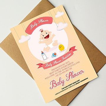 Baby Shower Card Psd Template